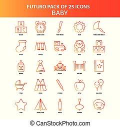 25, セット, オレンジ, 赤ん坊, futuro, アイコン