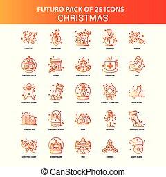 25, セット, オレンジ, futuro, クリスマス, アイコン