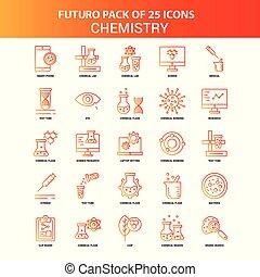 25, セット, オレンジ, futuro, 化学, アイコン
