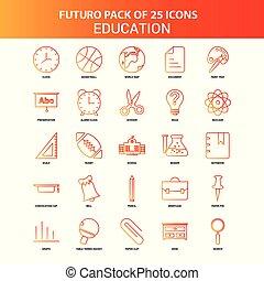 25, セット, オレンジ, futuro, 教育, アイコン