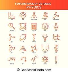 25, セット, オレンジ, futuro, 物理学, アイコン