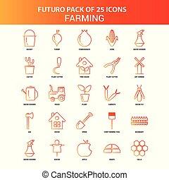 25, セット, オレンジ, futuro, 農業, アイコン