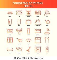 25, セット, ホテル, オレンジ, futuro, アイコン