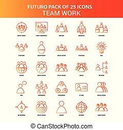25, セット, 仕事のチーム, オレンジ, futuro, アイコン
