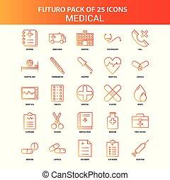 25, セット, 医学, オレンジ, futuro, アイコン