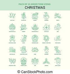 25, セット, 緑, クリスマス, アイコン