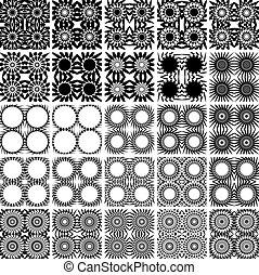 25, セット, patterns., seamless