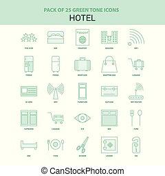 25, ホテル, セット, 緑, アイコン