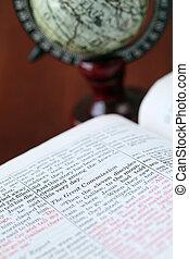 25, 偉人, 聖書, テキスト, -, フォーカス, matthew, commision, 開いた