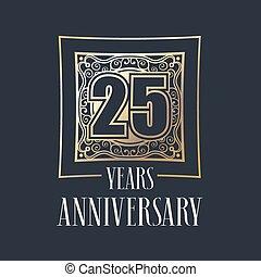 25, 年, 週年紀念, 矢量, 圖象, 標識語