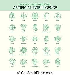 25, 放置, 智力, 人工, 绿色, 图标