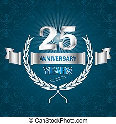 25, 紋章, 記念日, wreath., 年, 月桂樹, リボン