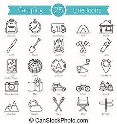 25, 線, キャンプ, アイコン
