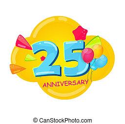 25, 記念日, 漫画, テンプレート, 年, かわいい, イラスト