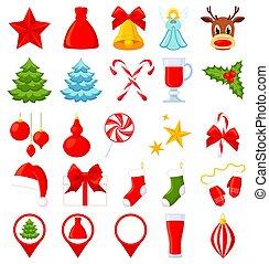 25, 鮮艷, 卡通, elements., 聖誕節