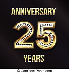 25, 년, 기념일, 로고