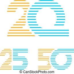25, 20, anniversaire, nombre, ligne, 50