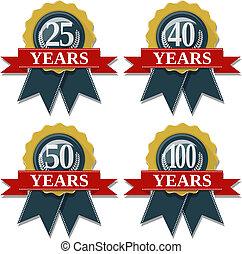 25, 50, 40, aniversario, sello, 100, años