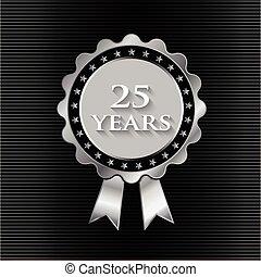 25, año, plata, cinta, con, stars., logotipo, diseño gráfico