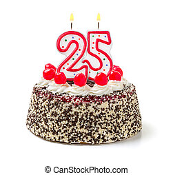25, abrasador, número, torta de cumpleaños, vela