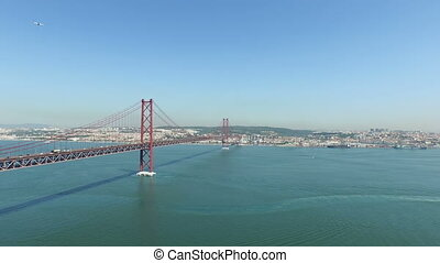 25 Abril bridge in Lisbon Portugal - Aerial from the 25...