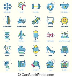 25, affärsidé, blanda, lägenhet, färg, ikon, sätta