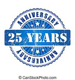 25, anni, anniversario, stamp.