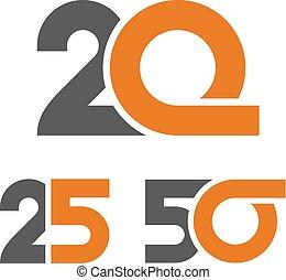 25, anniversaire, 20, nombre, 50