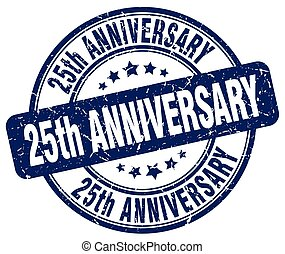 25, anniversario, blu, grunge, francobollo