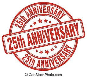 25, anniversario, grunge rosso, francobollo