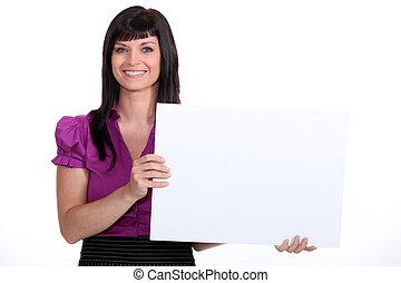 25, anos velho, mulher, desgastar, um, paleto, e, mostrando, um, branca, painel