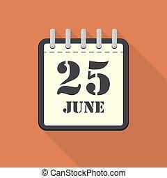 25, appartamento, giugno, illustrazione, vettore, calendario, design.