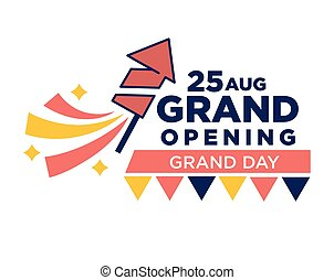 25 August grand opening day bright promotional poster