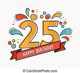 25, barwny, płaski, liczba, urodziny, projektować, kreska, ...