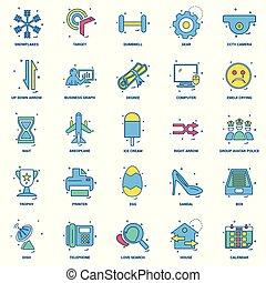 25, begrepp, affär, lägenhet, färg, blanda, sätta, ikon