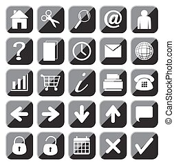 25 Black Web Button Icons Set