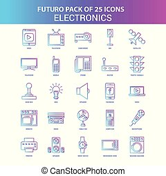 25 Blue and Pink Futuro Electronics Icon Pack