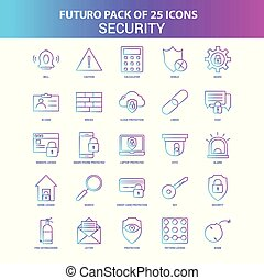 25 Blue and Pink Futuro Security Icon Pack