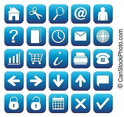 25 Blue Web Button Icons Set