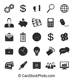 25 business icons set in simple style