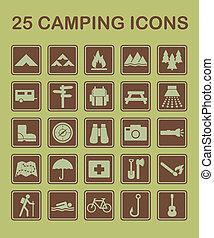 25, campamento, iconos