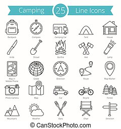 25, camping, ligne, icônes
