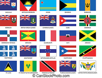 25 Caribbean Flags - Complete set of all caribbean countries