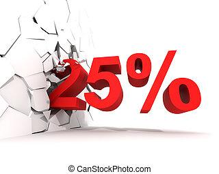 25, cento, desconto