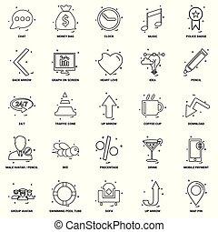 25, concept, zakelijk, malen, vermalen, set, lijn, pictogram