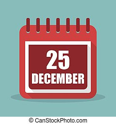25 december. Calendar in a flat design. Vector illustration