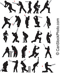 25 detail cricket poses silhouette - 25 detail cricket poses...