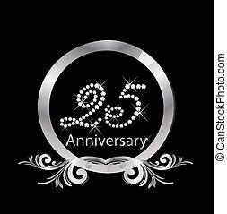 25, diamante, anniversario, argento
