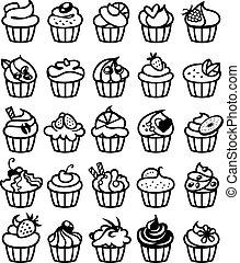 25, différent, petits gâteaux