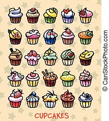 different colorful delicious cupcakes